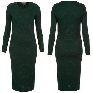 •TOPSHOP• Dk Green Brocade Midi Bodycon Dress